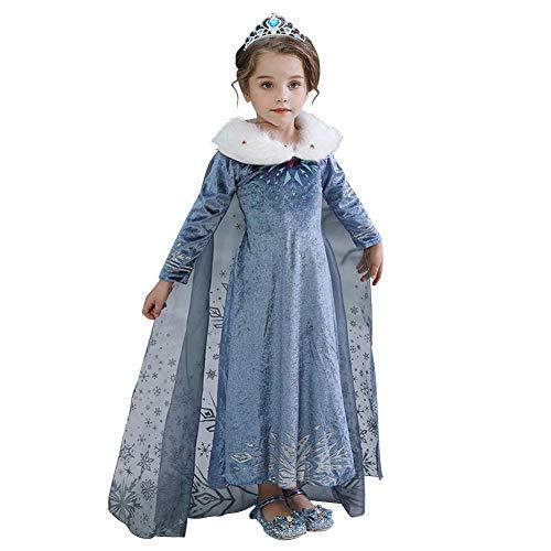 IWEMEK ragazza ELSA costume Anna principessa vestito bambini travestimento carnevale costume di Natale festa abito Halloween Festabito vestito Abbigliamento 2 – 8 anni 01 5-6 Anni