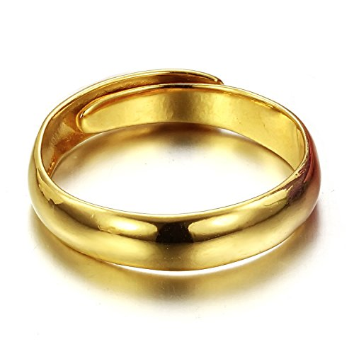 ONEWORLD Women Copper Ring with 18K Gold Plating Concise Pure Golden Color Wedding Band 3.6Mm Round Size Adjustable