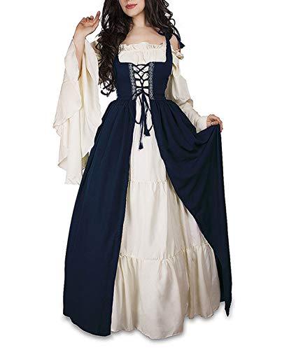 Primavera y Otoo Medieval Renacimiento Disfraz de Reina Vestido con Vendaje Moda Cuerno Manga Vestido de Hombro Fro Mujer Elegante Vintage Maxi Vestidos de Fiesta Partido