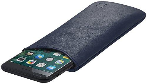 StilGut Pouch, Universal-Hülle aus feinstem Nappaleder | Sleeve Handyhülle Größe L passend für z.B. Samsung Galaxy S7, Huawei Honor P9 Lite, Samsung S6 Edge, OnePlus X u.a, Dunkelblau Nappa
