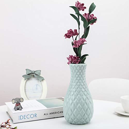 123 Life Jarrón de plástico para flores, duradero y moderno, para salón, oficina, boda, decoración (azul)