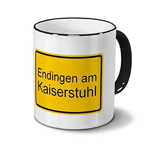 Städtetasse Endingen am Kaiserstuhl - Design Ortsschild, Stadt-Tasse, City-Mug, Kaffeetasse - Becher Schwarz