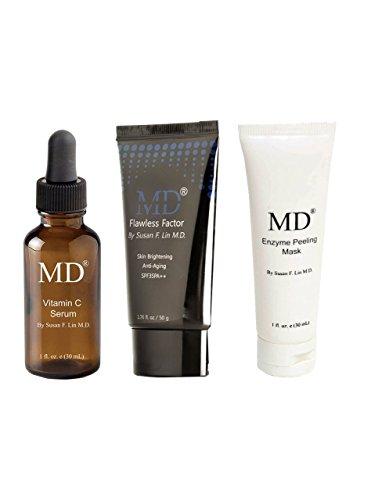 MD Esenciales de belleza Bundle- vitamina C en suero, crema de BB con SPF35, Y Máscara Exfoliante
