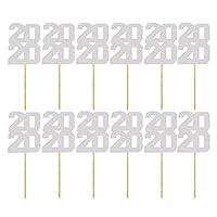 Amosfun 2020ケーキトッパーキラキラケーキピック新年カップケーキトッパーデザートケーキの装飾2020パーティー用品12ピース(シルバー)