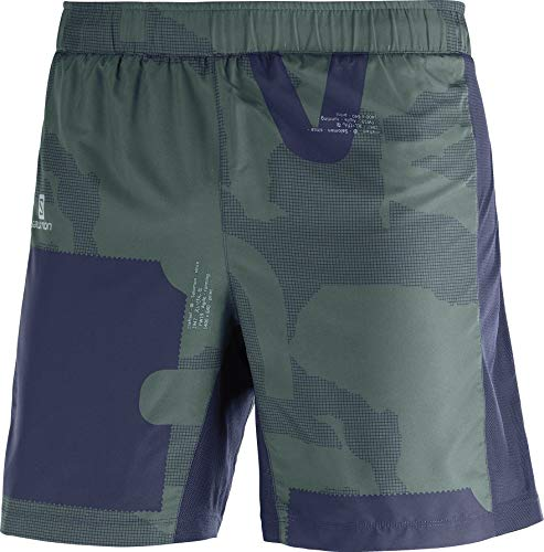Salomon Herren 2-in-1 Lauf-Shorts, AGILE 2IN1 SHORT M, Synthetik, blau/grün (Night Sky/Green Gables/Balsam Green), Größe: XL, LC1167100