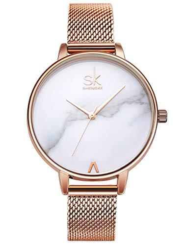 Alienwork Damen-Armbanduhr Quarz Rose-Gold mit Metall Mesh Armband Edelstahl Weiss Ultra-flach Slim-Uhr elegant
