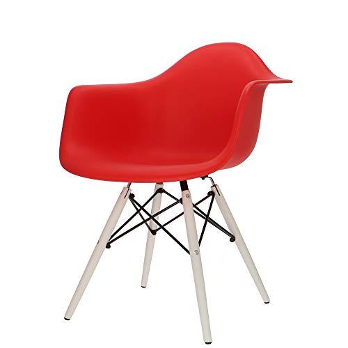 Popfurniture POP Designer Stuhl DAW mit Armlehne und Weiße Beine - Esszimmerstuhl, Wohnzimmerstuhl, Bürostuhl, Retro Stuhl aus Kunststoff und Ahornholz | 63 x 60 x 82 cm | Rot