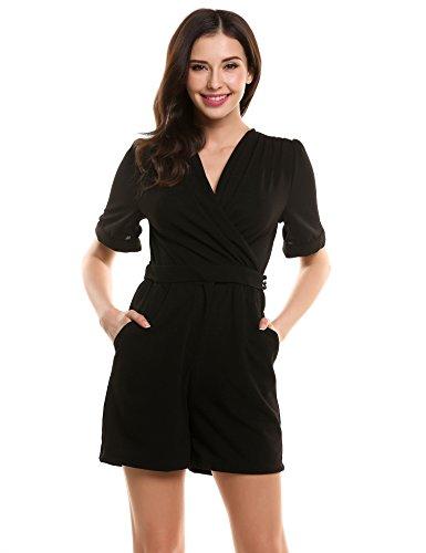Zeagoo Sexy Damen Jumpsuit Overall V-Ausschnitt Einteiler Romper Spielanzug schwarz XL