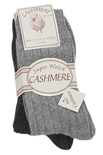 Sonia Originelli 2 Paar Kaschmirsocken Premium Strümpfe Schafwolle Unisex Farbe Grau, Größe 43-46