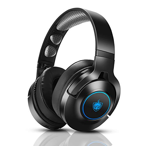 Headset PS4, Gaming Headset für Xbox One, Nintendo Switch, PC, 7.1 Bass Surround Wireless Bluetooth Headset, Kabel Gaming Kopfhörer mit Noise Cancelling Mik, Drehbar Ear Cups, LED Licht - Blu