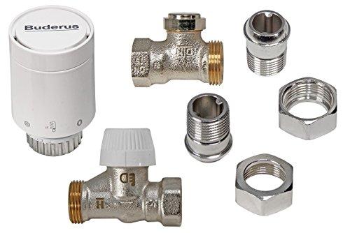 Buderus Thermostatkopf Set mit Heizkörperverschraubung Durchgangsform für C/CV Heizkörper