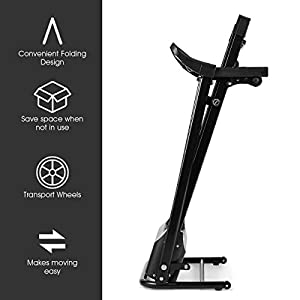 Nightcore 1.5HP Electric Folding Treadmill with Adjustable Incline, Jogging Running Machine with 12 Pre-Set Programs, LCD Display and Heart Rate Sensor, Portable Treadmill with Low Noise