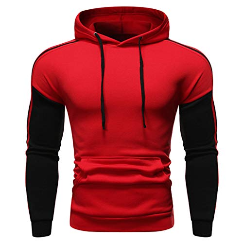 Herren Pullover Hoodies Hooded Sweatshirt Patchwork Top Casual Hoody mit Kanga Pocket...