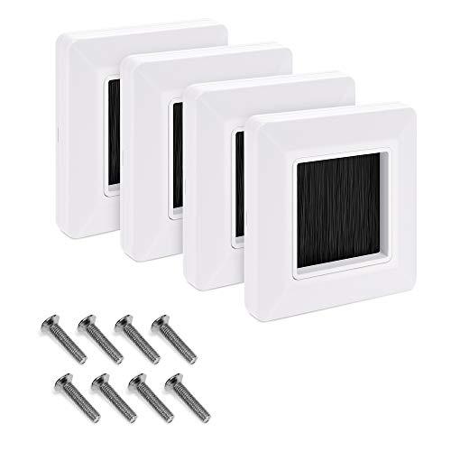 kwmobile 4x Placa de pared con cepillo - Cubierta oculta para tapar cables salidas hoyos y cableado - Set de pasacables para enchufe europeo - Blanco