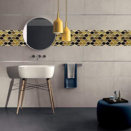 Orumrud Peel and Stick Backsplash Azulejos para la Cocina Baño de la Sala de Estar, Stick Premium Autoadhesivo en tickers, Oro y diseño de arabescos Negros (Quantity : 5set, Talla : 20x20cm)