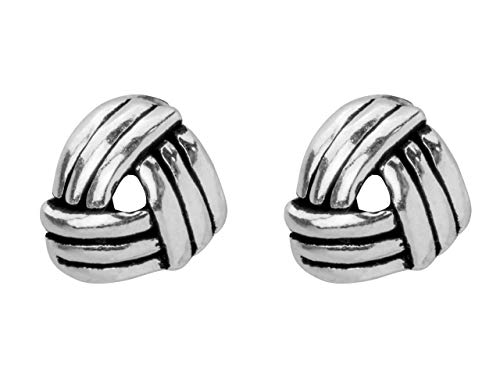 Sterling Silver Flat Knot Design Stud Earrings