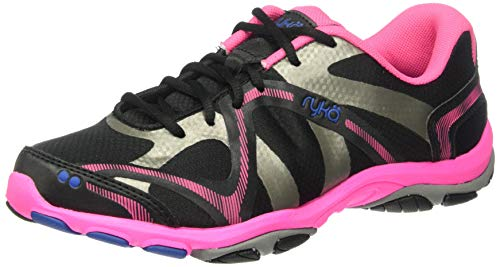 Ryka womens Influence Training Shoe Cross Trainer, Black/Atomic Pink/Royal Blue/Forge Grey, 8.5 US