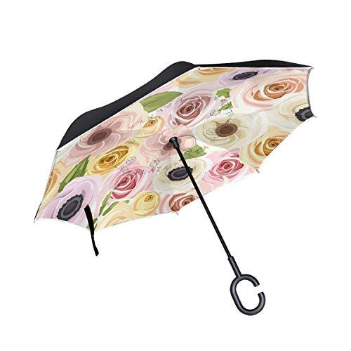 Winddicht met greep in C-vorm Dubbele omgekeerde basis van rozen rood en wit voor paraplu's voor buiten.