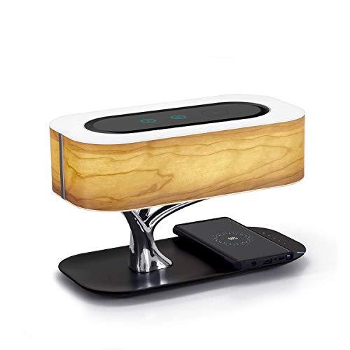 Lámpara de Mesa de Iluminación Decorativa Interior Lámpara de noche con altavoz Bluetooth y cargador inalámbrico, lámpara de escritorio Concisa DesignTable lámpara con el modo de suspensión sin escalo