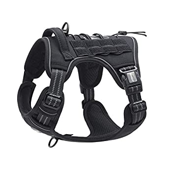 Auroth Tactical Dog Training Harness No Pulling Front Clip Leash Adhesion Reflective K9 Pet Working Vest Easy Control for Small Medium Large Dogs Black M