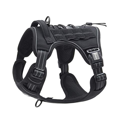 Auroth Tactical Dog Training Harness No Pulling Front Clip Leash Adhesion Reflective K9 Pet Working Vest Easy Control for Small Medium Large Dogs Black XL