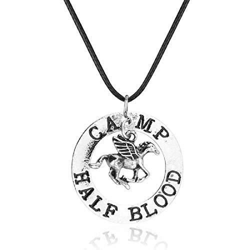 Percy Jackson - Collana con ciondolo con cavallo alato e incisione 'Camp Half Blood'