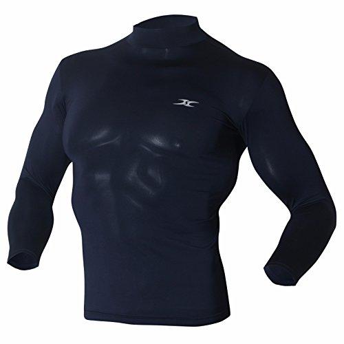 Maillot Couche de base de compression à manches longues Col montant Pour homme - turquoise - X-Large