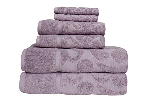 Classic Turkish Towels Luxury 6 Piece Towel Set - Woven Jacquard Bath Towels Made with 100% Turkish Cotton (Lavender)