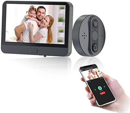 JeaTone Judas Numerique Judas de porte Wifi Pour de 35 à 130 mm Porte /100°Wide Angle AHD 720P Camera Surveillance+ 4.3 Inch TFT Screen/Infrared Night Vision/Motion Snapshot or Video