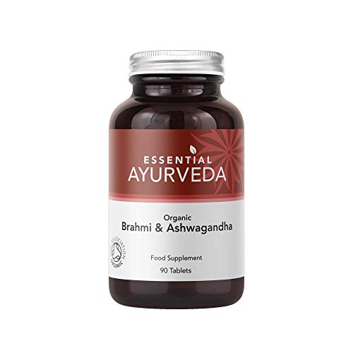 Essential Ayurvedic Organic Brahmi & Ashwagandha Formula 90 Tablets Plant-Based Nutrient to Support Physical & Mental Wellbeing