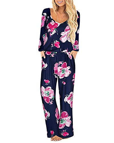 Style Dome Damen Jumpsuit Casual Lange Floral Rundhals Overall Loose Jumpsuit Rompers Blau S