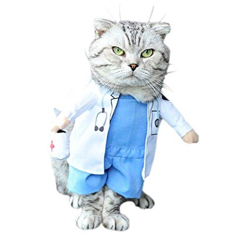 DELEY Animal de Compagnie Chien Chat Halloween Noël Cosplay Party Fancy Dress Costume Uniforme des Vêtements Médecin S
