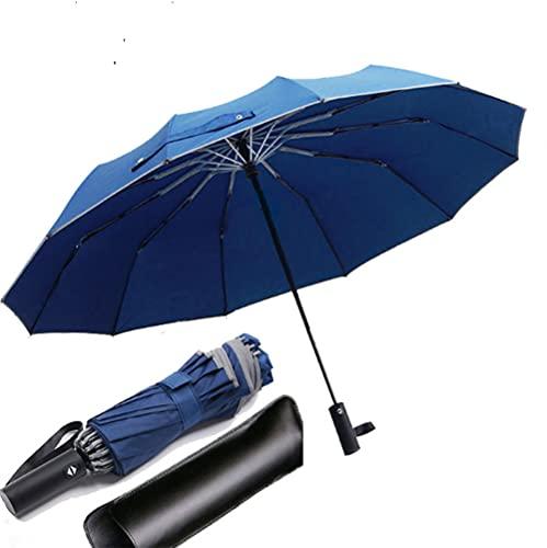 12本骨逆折り式 反射テープ付き 折りたたみ傘 ワンタッチ 自動開閉 メンズ傘 ビッグサイズ 晴雨兼用 男子日傘 UVカット 折り畳み傘 メンズ レディース 梅雨対策 台風対応 高強度グラスファイバー 収納ポーチ付き (ブルー)