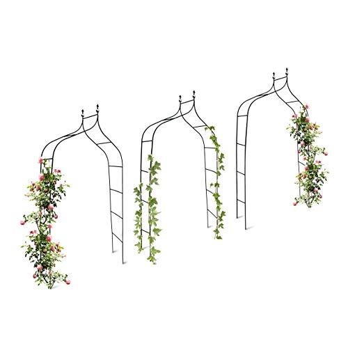 Relaxdays 3er Set Rankbogen Metall geschwungen 240 cm, royaler Rosenbogen mit Spitze, Rankhilfe und Gartendeko für Draußen, grün