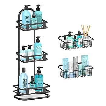 Warmfill Standing Shower Caddy 3 Tier Stainless Steel Corner Shower Shelf with 2 Set Wall Mounted Wire Baskets Shower Organizer for Bathroom Shampoo Soap Kitchen