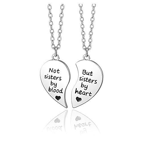 Jovivi Collar con colgante de puzle de corazón con texto en inglés 'Not Sisters by Blood/But Sister by Heart' para hermanas, regalos de amistad