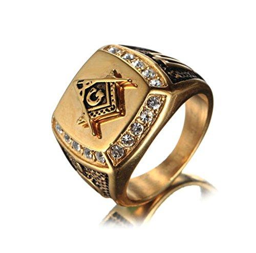 Bishilin Edelstahl Ringe Männer mit Rundschliff Zirkonia Masonic Freimaurer Herrenring Freundschaftsringe Gold Schwarz Größe 65 (20.7)