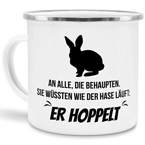 Tassendruck Emaille-Tasse mit Spruch Wie der Hase läuft, er Hoppelt - Ostern/Witzig/Edelstahl-Becher/Metall-Tasse/Lustig