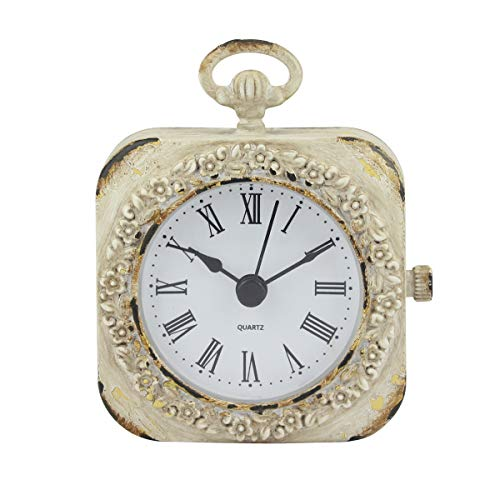 Stonebriar Cottage Decor Battery Operated Tabletop Clock, Small, Worn White
