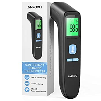 ANKOVO Touchless Thermometer for Adults Non Contact Forehead Thermometer for Fever Digital Infrared Thermometer with Fever Alarm and Sound Switch