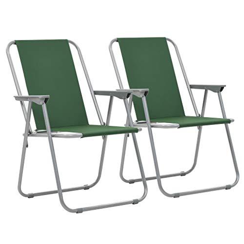 tidyard 2er Set Campingstühle Gartenstühle Klappstühle mit Armlehne, Tragfähigkeit: 100 kg, 52 x 59 x 80 cm Grün