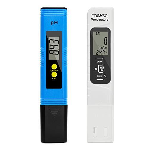 Wisamic pH Messgerät TDS EC Temperatur 4 in 1 Set LCD Display Wasserqualität Tester für Trinkwasser Schwimmbad