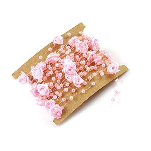 Fliyeong - Cadena de Perlas Artificiales (5 m), diseño de Flores, Color Rosa