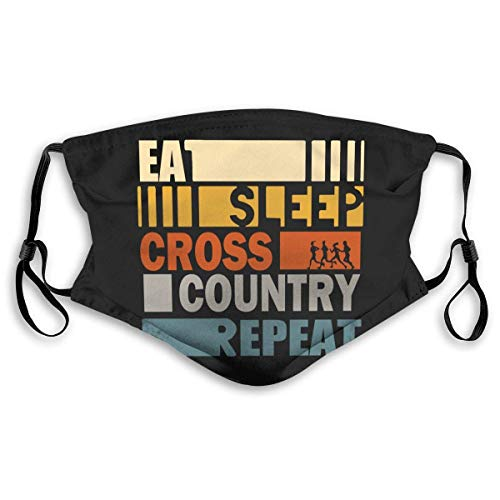 Eat Sleep Cross Country Repeat mask Facial Deco with 2 Filter Chip