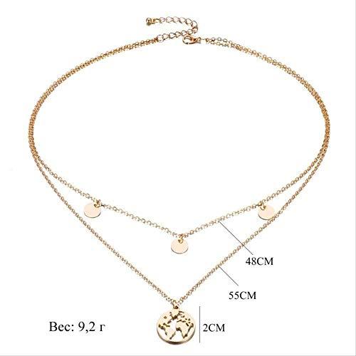 BACKZY MXJP Necklace Retro Round World Map Pendant Necklace Set Boho Style Women Necklace Charm Trend Jewelry Jewelry Necklace