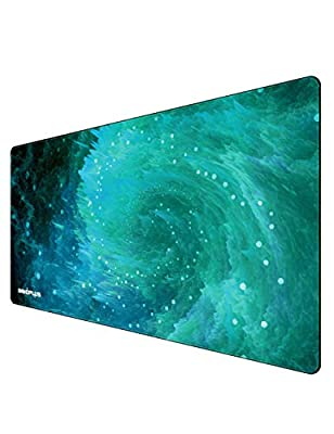 Gaming Mouse Pad, Large Mouse Pad, Gaming Mouse Pad Large 800x400x3 mm, Gaming Mouse Mat, Extended Mouse Pad, Gaming Met XL Galaxy Green Designed for Gaming Surface/Office Desk, Durable Stitched Edges