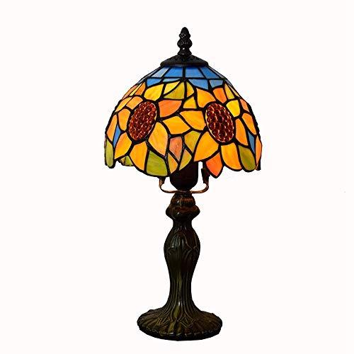 Jkckha nordic Dormitorio lámpara de mesa País creativa del vidrio manchado de la sala americana Comedor de noche (7' Ancho 14' Altura) Lámparas de tabla Adecuado para dormitorio, sala de estar, oficin