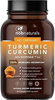 NOB Naturals Turmeric Curcumin with Bioperine for 250% Increased Absorption | Natural Antioxidant and Anti Inflammatory | Natural Dietary Supplement - 60 Capsules
