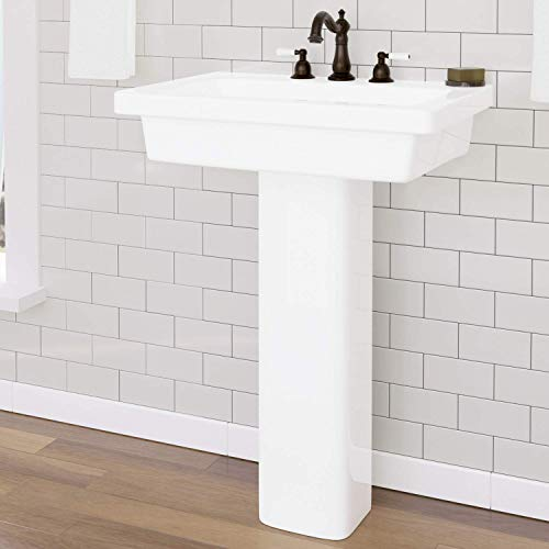 Magnus Home Products Aurora 300 Vitreous China Pedestal Bathroom Sink, 8