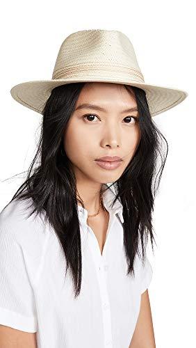 rag & bone Women's Packable Straw Fedora, Natural, White, Medium